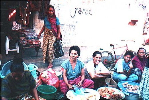 Beautiful ladies at a village market