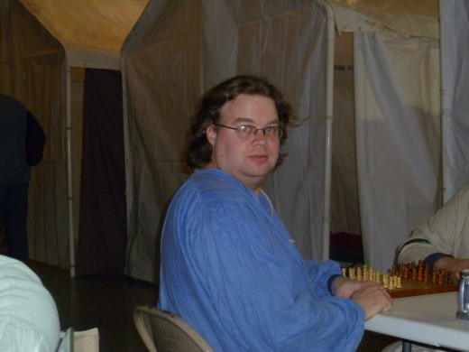 Here I am enjoying a game of chess at That Moot Thingy in February 2011.