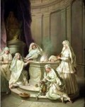 Hestia, Goddess of Meditative Wisdom in Mature Woman, being served by the Vestal Virgins of Greek Mythology