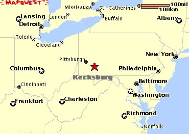 This detailed recreated Mapquest map, shows the general vicinity of the location of where the strange UFO had crashed into a wooded ravine, outside of the town of  kecksburg, pennsylvannia
