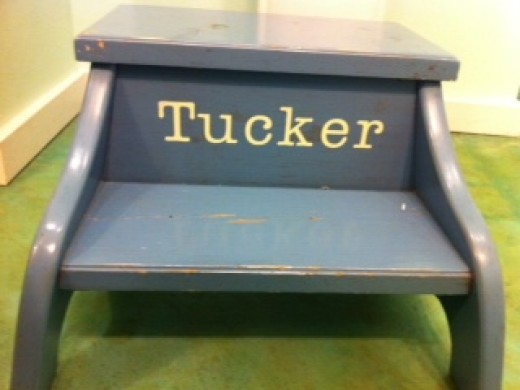 A personalized stool makes a child feel special, and gives him a boost when brushing his teeth.