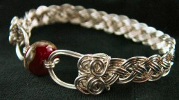Sterling Silver Woven Wire Bracelet with Red Lampwork Bead