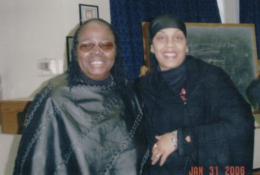 My mother -- on the left -- and her former co-worker. I took Access-A-Ride one rainy day from the Bronx to Queens for my mother's retirement -- after 44 years -- party.  It was lovely.