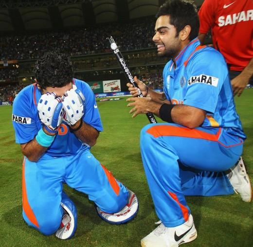 Yuvraj Singh Can't Control His Happy Tears as Virat Kohli Looks On
