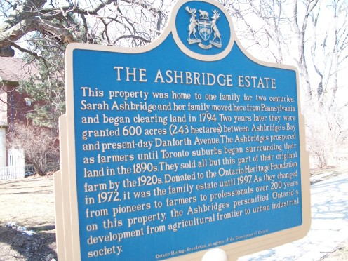 The Ontario Heritage Trust's Ashbridge Estate plaque