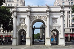 At the north-east corner of Hyde Park is the Marble Arch.