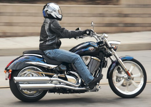 Cruiser: Handlebars on this Victory Vegas are reasonable but the footpegs are way too far forward for control.