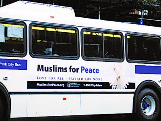 Bus with the message from Ahmadyad Muslims.