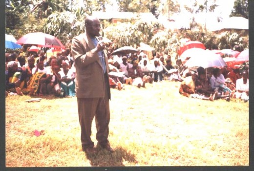 James Montondi, preaching after a twenty mile walk.