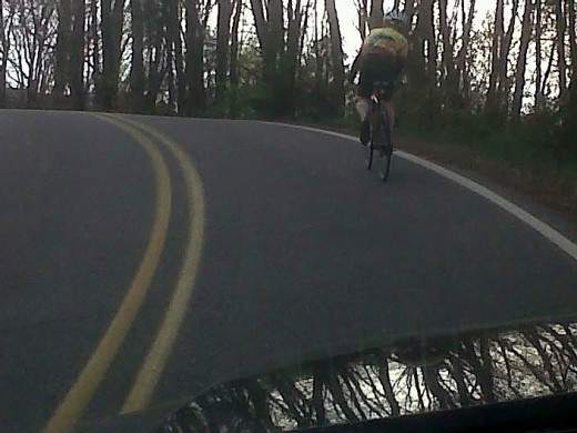 I got stuck behind a %*&^(^()%$)% bicyclist on may way to work this morning.  I had to follow him all the way down Cherokee Trail.