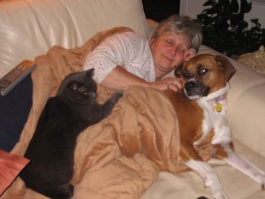 My Animals Like to Cuddle While We Sleep.