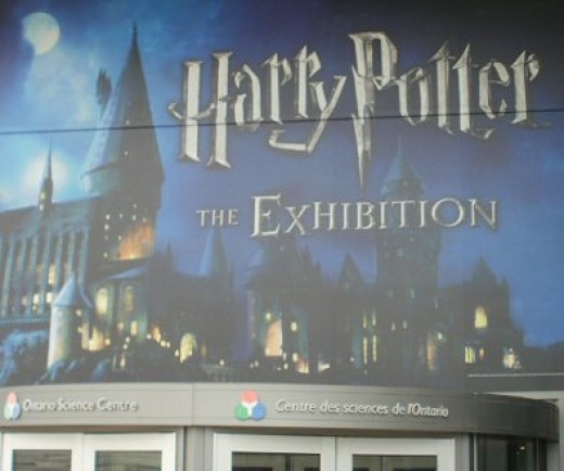 The giant Harry Potter Exhibition sign over the front doors of the Science Centre
