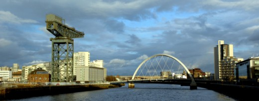 view of Glasgow from the River Clyde