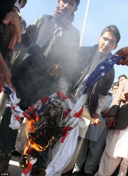 And American flag burning, , ,