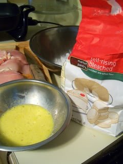 Dip Chicken in flour and egg