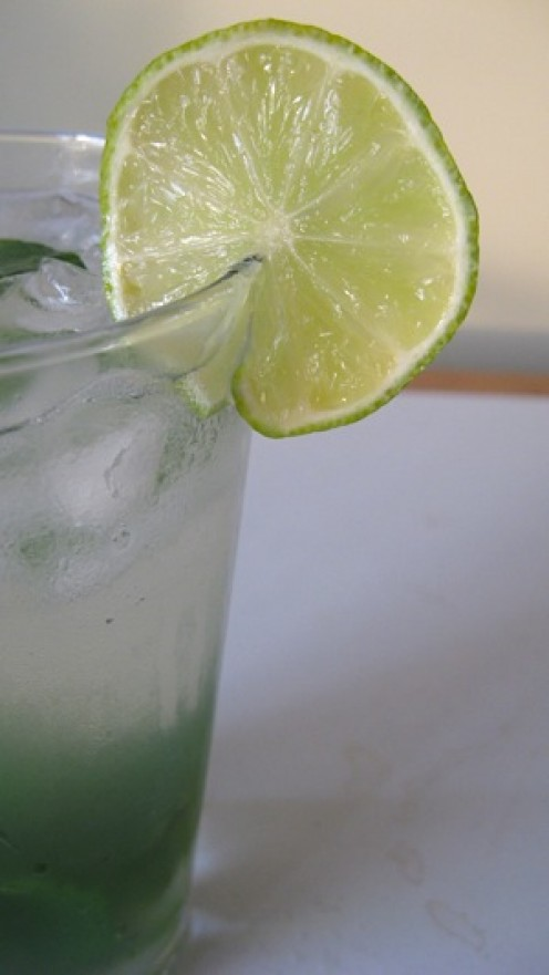 Decorate a glass of this cool drink with a thin slice from the center of a fresh lime.