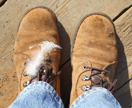 My stylish feather-adorned boots.