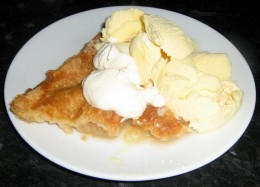 Apple Tart with ice cream and whipped cream