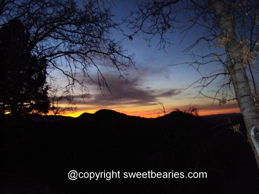 Vivid sunset in the San Bernardino Mountains.