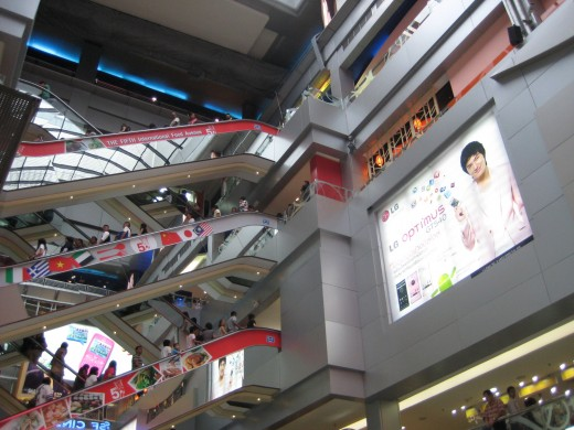 MBK is 8 stories tall and massive so there are lots of escalators