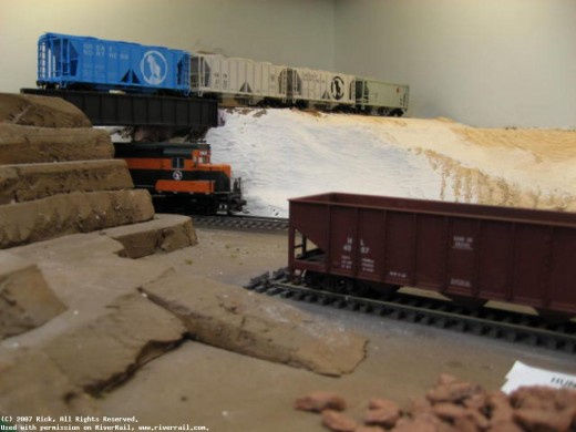 Various stages of Scenery on the Great Northern Railroad, part of the RiverRail Operations Group in La Crosse, Wisconsin.