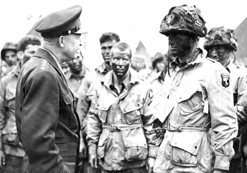 General Eisenhower meets with the 101st Airborne in England prior to D-Day.