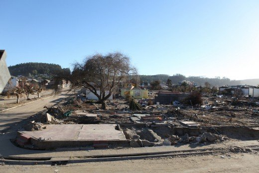 Devastation left behind in 2010 Chilean Tsunami, corrosion and force of the waves destroys all in its path