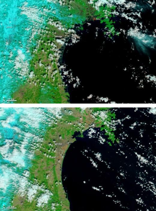 Tsunami coastal damaged before and after satellite images of 2011 Japan Tsunami