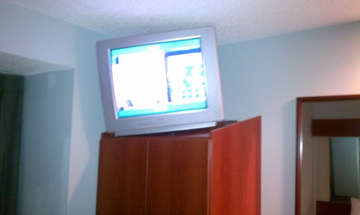 The TV was tilted.