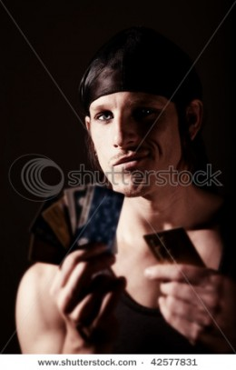 Identity thief with credit cards.