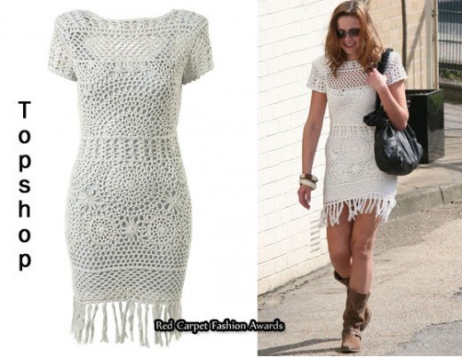 Charlotte Church in Topshop crochet dress
