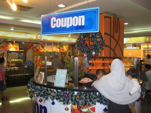 You need to exchange your baht for coupons to purchase food