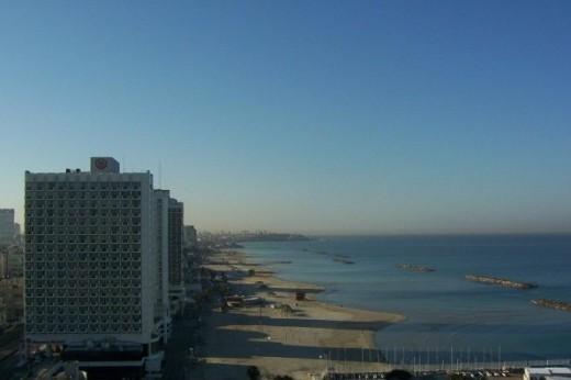 View of the Mediterranean Sea shore at Tel Aviv looking toward Jaffa.  Taken from the rooftop of the Tel Aviv Carlton Hotel