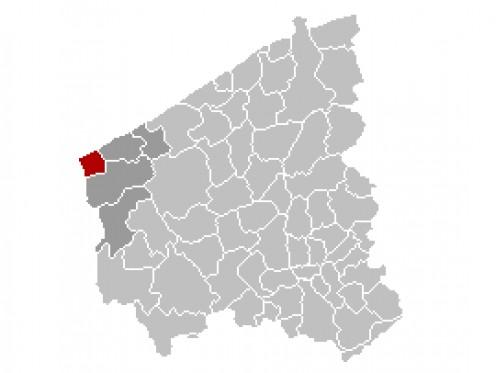 Map location of De Panne, Belgium