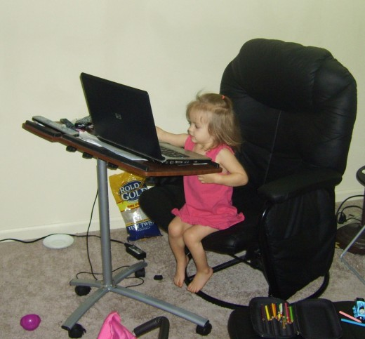 Allyssa at the Computer, age 2