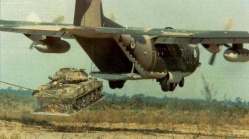 A C130 unloading an M551 Sheridan Light Tank