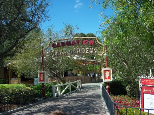 Carnation Plaza Gardens, located in the central hub, tucked between the castle and the entrance to Frontierland.