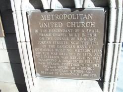 Plaque outside Toronto's Metropolitan United Church