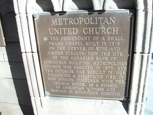 Plaque outside Toronto's Metropolitan United Church