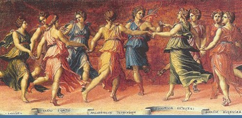 A painting of Muses : by Baldassore Peruzzi, an architect and painter (1481 - 1537 AD) from Siena,Italy