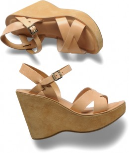 """Kork ease NATURAL wedge 4 1/2"""" suede with ankle strap"""