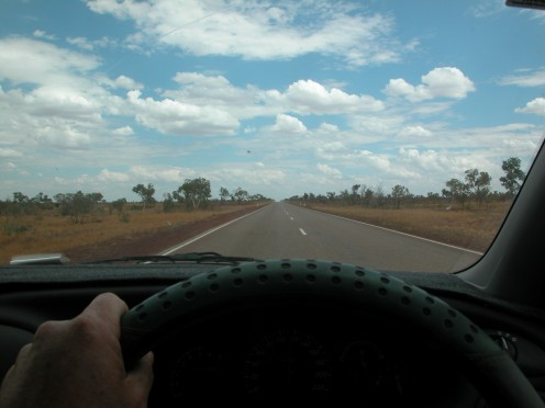 The road to Darwin is hot, dry. and seems endless. Image by JB