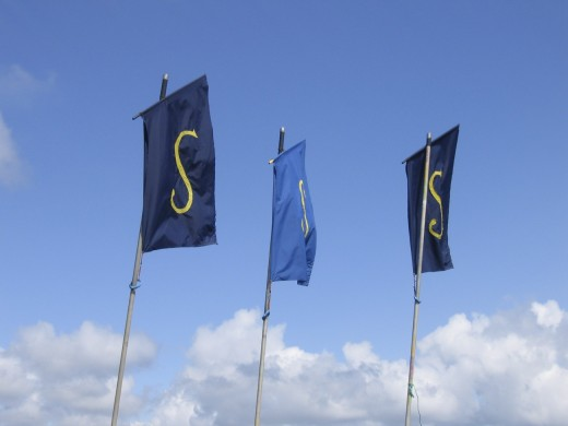 Festival Flags: the 3 S's standing for Sea, Salt and Sails. Flags made of silk are an integral part of all Cornish festivals.