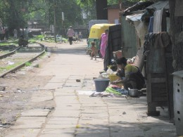 A poor neighbourhood with garbage on the street