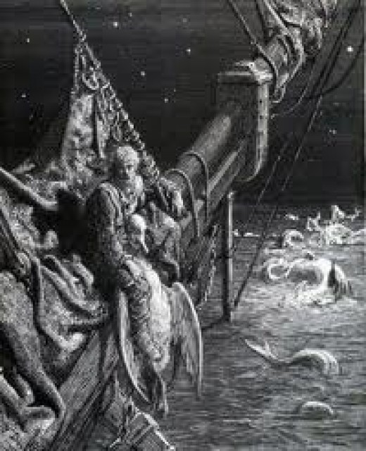 The Ancient Mariner alone on the ocean.