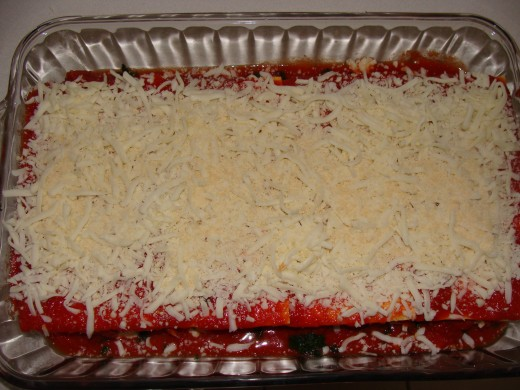 Top the final layer with noodles, sauce and cheese.