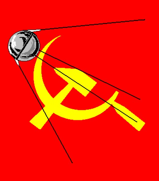 The Commies sent up Sputnick to circle the Earth. This banner shows Sputnick flying over the hammer and sickle, the symbol of the USSR(United Soviet Socialist Republic).