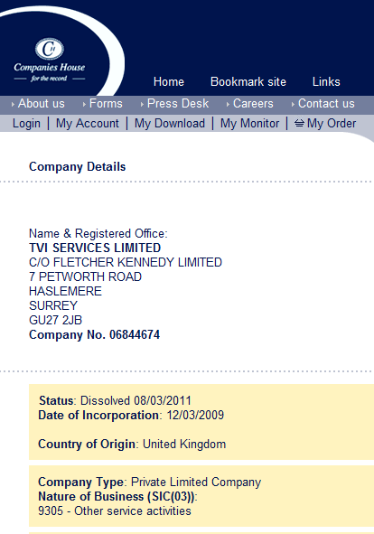 UK Company records: TVI Services dissolved 08-MAR-2011