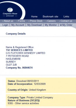 UK Company records: TVI Services dissolved 08-MAR-2011