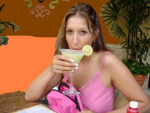 sipping a margarita in Hawaii